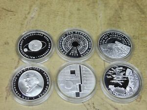 2004-6-x-10-Euro-Silber-PP-Jahrgang-komplett