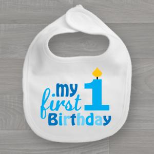 Boys My First Birthday Baby Bib 1st Feeding Dribble Bandana Muslin