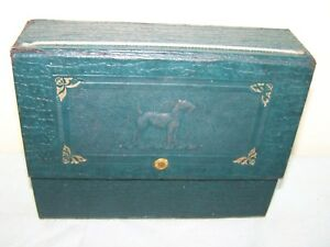 Lovely Antique Fancy Leatherette Embossed Stationary Box With Dog On It Beautiful In Colour Decorative Arts