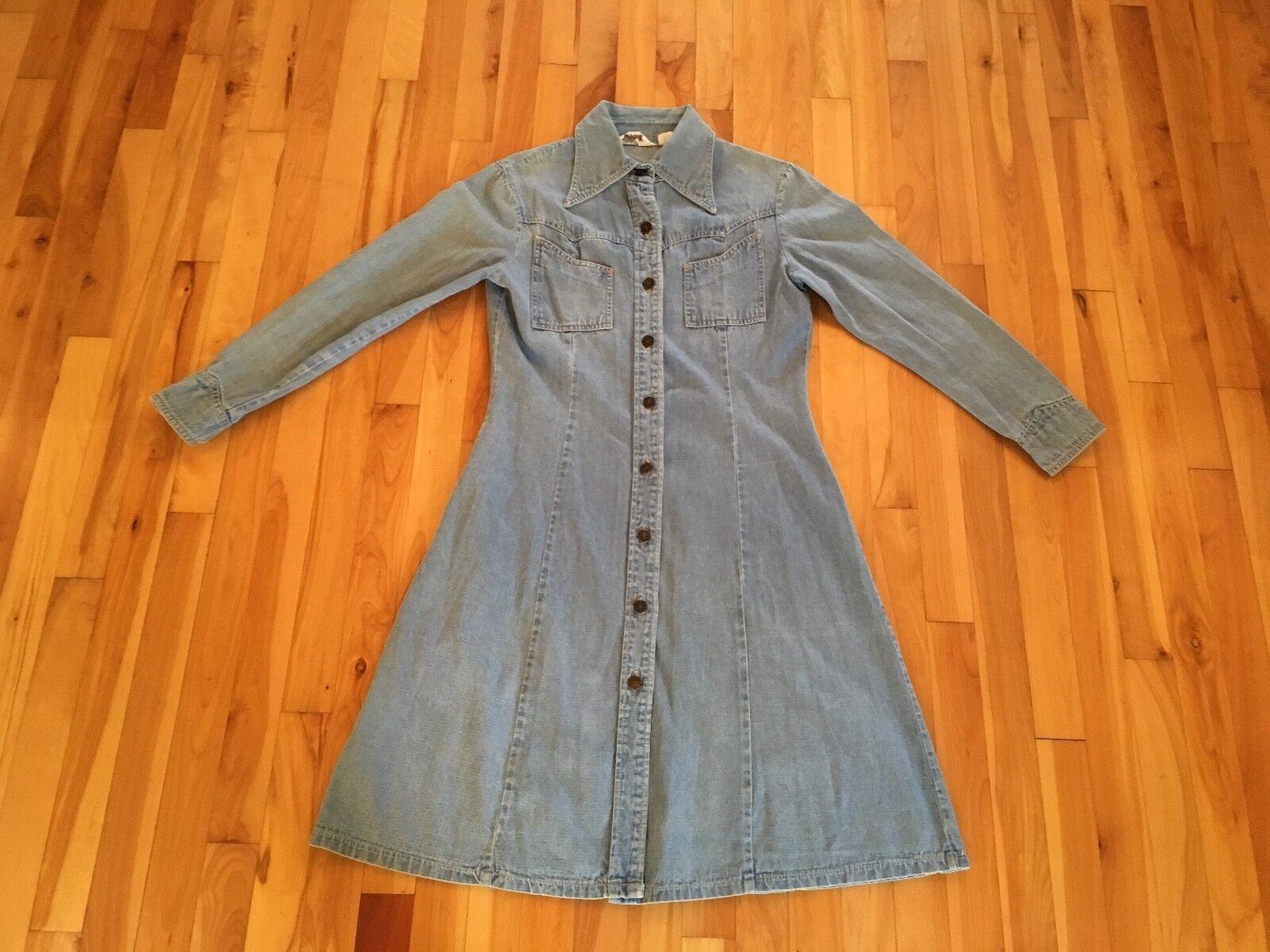 Vintage Montgomery Ward Denim Button Up Dress w  Harley Davidson Patch Sz 15 16