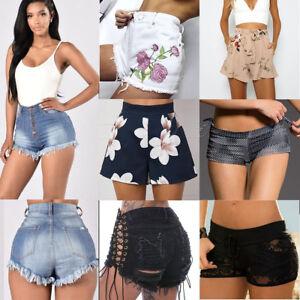 Ladies-Vintage-Ripped-Womens-High-Waisted-Stonewash-Denim-Shorts-Jeans-Hot-Pants