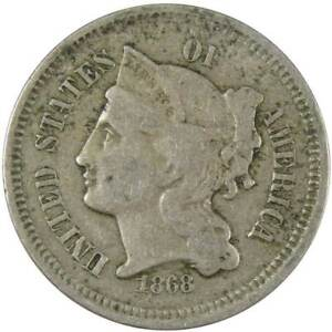 1868 Three Cent Piece VG Very Good Nickel 3c US Type Coin Collectible