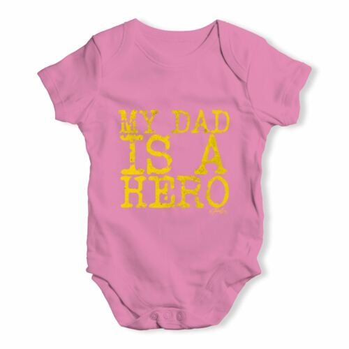 Torsadée envie mon père est un héros bébé unisexe drôle bébé grandir Body
