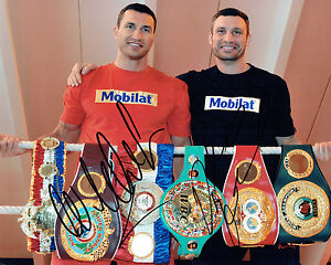 Details about Wladimir & Vitali KLITSCHKO Double Signed Photo B Champion  Boxer AFTAL COA