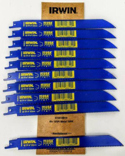 """10-pk Irwin 372818 8/"""" 18tpi Bi-Metal Reciprocating Saw Blades"""