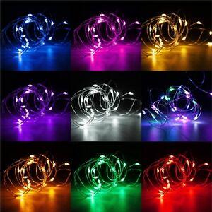 20-30-40-50-100-LED-Hadas-De-Alambre-Luces-Bateria-Navidad-Boda-Fiesta-Decoracio