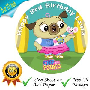 Pleasant Chip And Potato Cake Topper Personalised Edible Birthday Cake Personalised Birthday Cards Veneteletsinfo