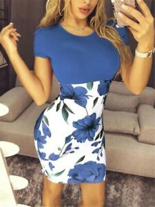 Womens-Splice-Sexy-Bag-Hip-Dresses-Ladies-Summer-Boho-Floral-Holiday-Beach-Dress