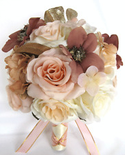 Wedding Bouquets 17 piece Silk Flower Bridal package ROSE GOLD Dusty MAUVE Peach
