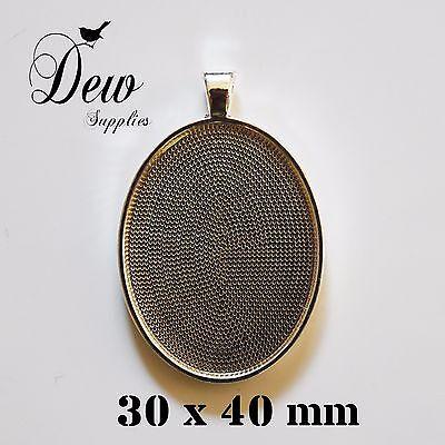 10 x oval pendant trays bezels antique vintage style bronze blank