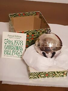 1978-8th-Wallace-Silver-Plated-Christmas-Sleigh-Bell-Christmas-Rose-Ornament-3-034