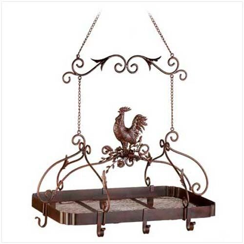HOME COUNTRY KITCHEN DECOR ROOSTER HANGING 8 POT PAN RACK HOLDER SHELF