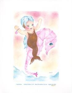 MERMAID CHILD GIRL PINK SEA HORSE NAUTICAL TOPAZIANNA SWEET L/E S/N ART PRINT