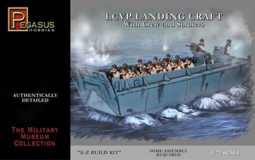 PEGASUS 7650 WWII LCVP LANDING CRAFT WITH CREW SOLDIERS 1/72 Model Kit FREE SHIP