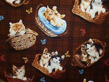 CLEARANCE FQ CUTE CATS KITTENS BASKETS BUTTERFLIES FABRIC PETS ANIMALS