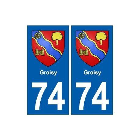 74 Groisy blason autocollant plaque stickers ville -  Angles : droits