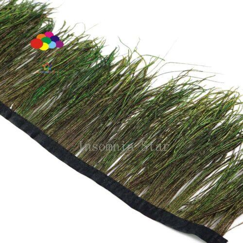 À faire soi-même 10 m Naturelle Plume de Paon Chiffon Côté Ruban 4-6 in//10-15 cm Carnaval