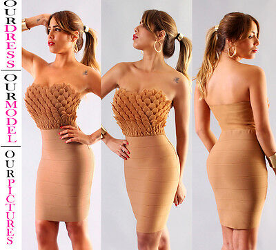 Womens New Sexy Caramel Strapless Ruffle Elastic Bandage Dress Rayon Bodycon Hot