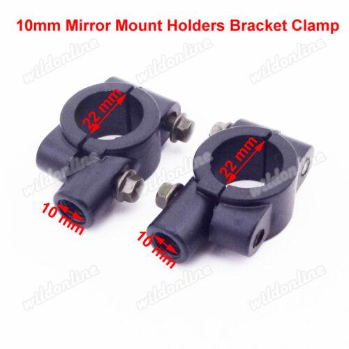10mm Mirror Mount Holders Bracket Clamp For 22mm Handlebar ATV Dirt Bike