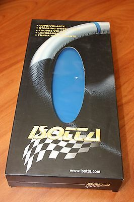 ISOTTA Made in ITALY .NEUF Couvre Volant en Cuir BLEU /& NOIR pour PEUGEOT 206