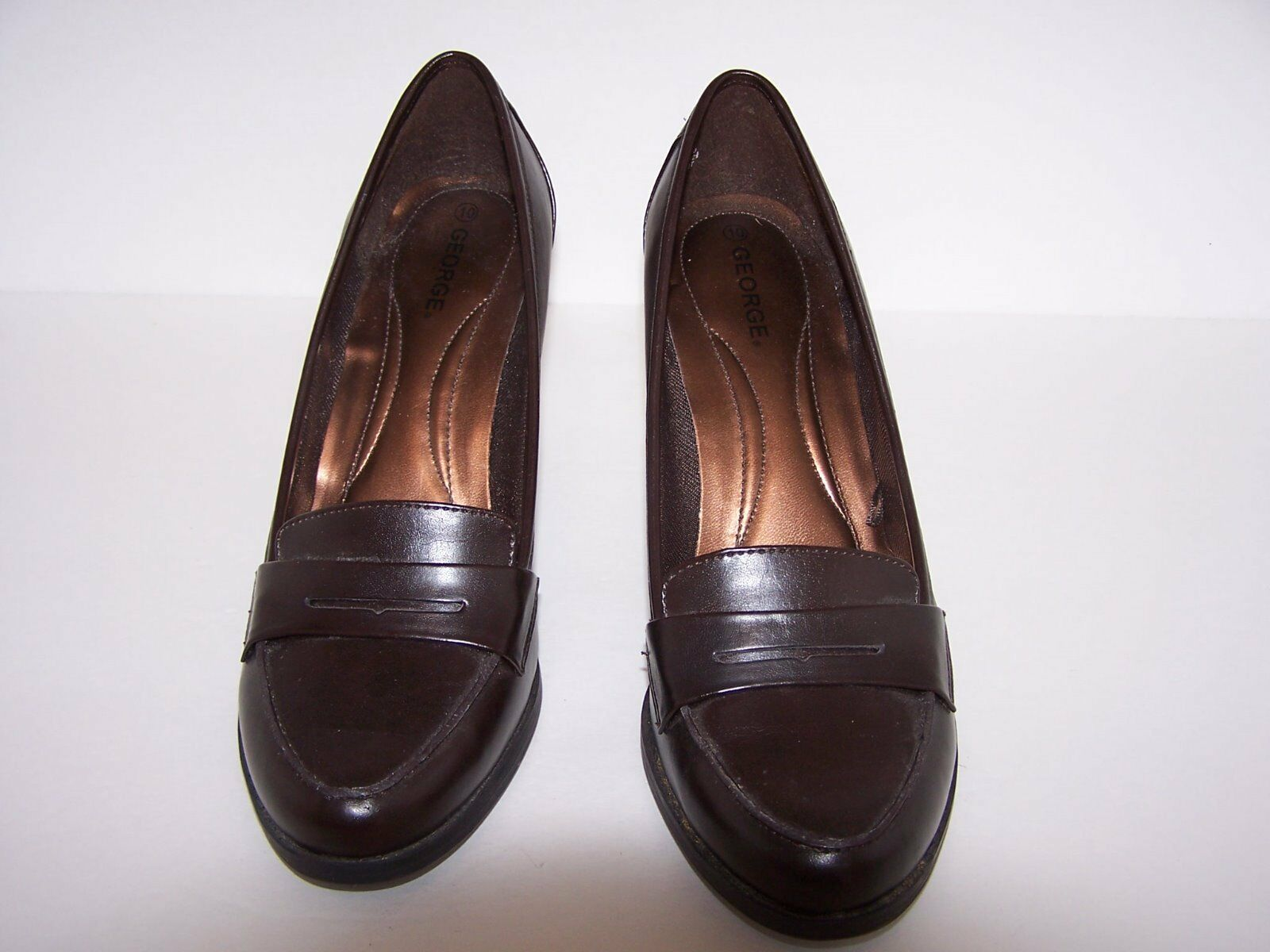 WOMEN'S SIZE BROWN GEORGE PENNYLOAFER HIGH HEEL  SHOES SIZE WOMEN'S 10 M 98% CONDITION f16f18