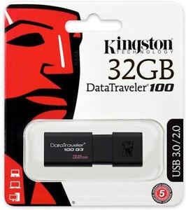 Kingston 32GB DataTraveler DT100G3 USB 3.0 Stick Flashdrive SpeicherStick DE/OVP
