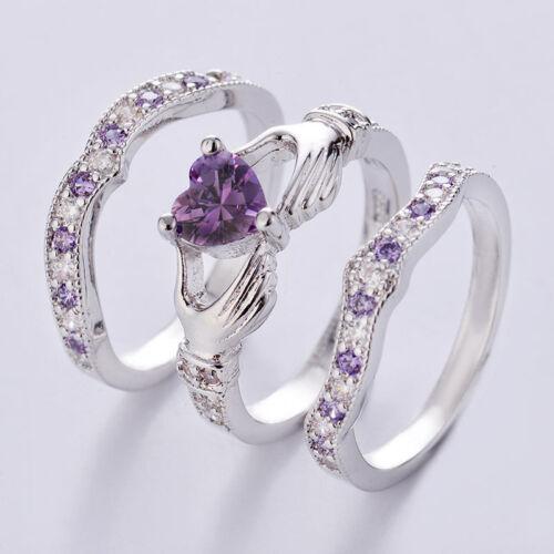 Irish Amethyst Heart Silver Plated Set Wedding 3PCs Celtic Bridal Claddagh Ring
