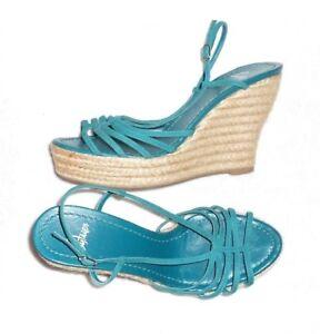 05e4d8afb Détails sur CASTANER sandales compensées cuir daim turquoise & corde P 40 =  39 neuves