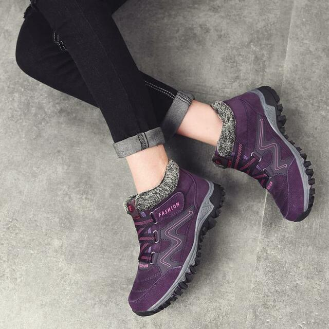 Details about Skechers Tone Ups Chalet Winter Boots Knitted & Leather Gray Purple Pink US 9