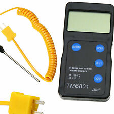 K Type Black High Temperature Thermometer Pyrometer And Probe Set 1300 2327