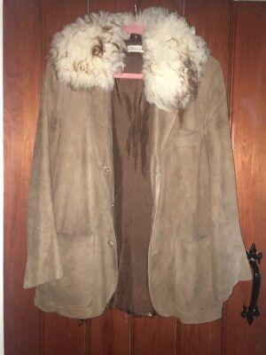Collezione Qui Women's Vintage Cuori E Pistole In Montone Marrone In Pelle Scamosciata Giacca Taglia: Small-