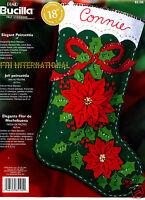 Bucilla Elegant Poinsettia 18 Felt Christmas Stocking Kit 85105 Ribbon Flower
