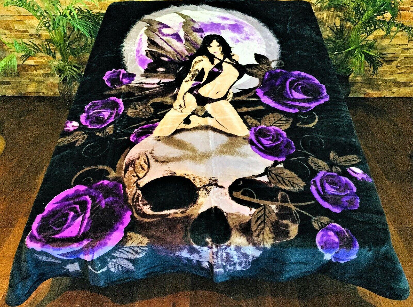 ☀️New  79x96 Luxury MEDIUM Weight Queen Blanket Fairy Skull Moon Purple pink