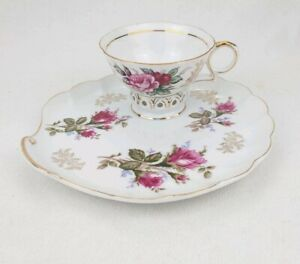 Vintage-Japanese-Moss-Rose-Gold-Trimmed-Tea-Cup-And-Snack-Luncheon-Saucer-Plate