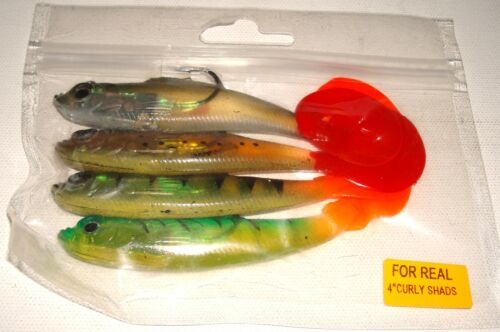 4 X 4inch MIXED  CURL TAILED PIKE TROUT LURES APPROX 15g EACH PERCH