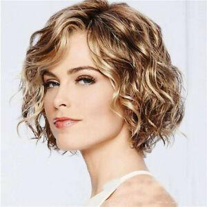 Short Wavy Curly Women Wigs with Bangs Blonde Bob Synthetic Cosplay Party Wig US