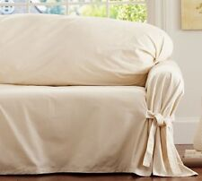 Pottery Barn Tie Arm Loose Fit Slipcover SMALL Sofa   Cream Twill