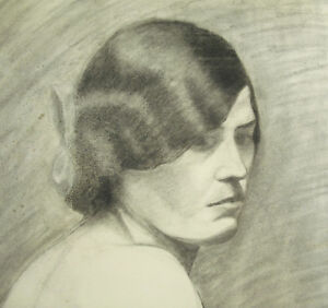 Large-Drawing-Charcoal-towards-1900-59-cm-Portrait-of-Naked-Woman-in-Bust-Woman