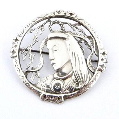 Datiert 1948: Art Deco Brosche Nordische Gottheit 813er Silber Finnland Signiert üPpiges Design
