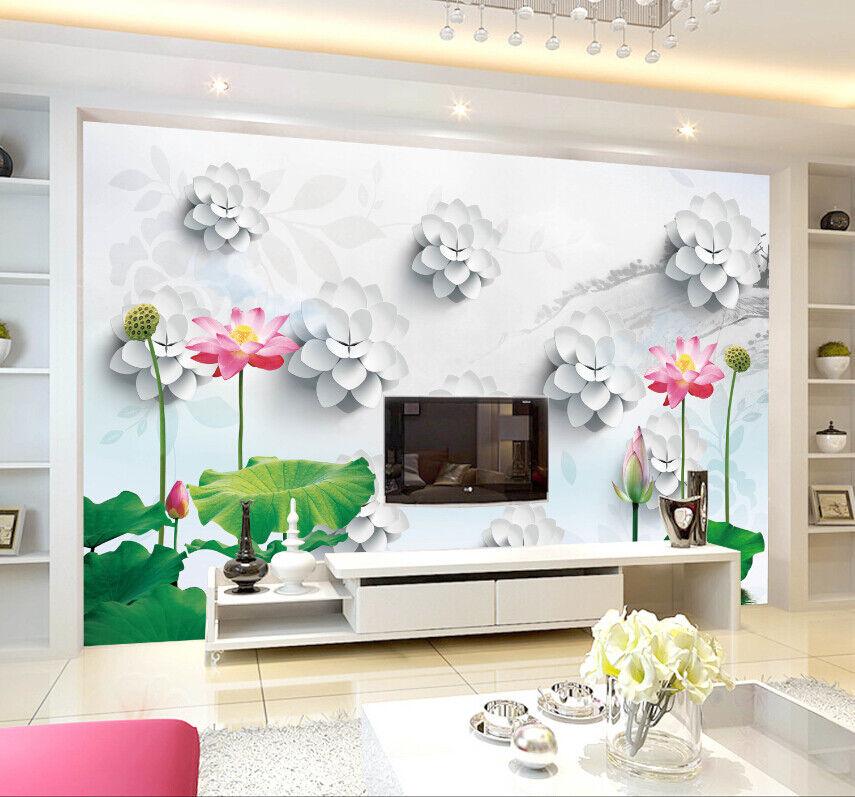 3D Hübscher Lotus Muster 84 Tapete Wandgemälde Tapete Tapeten Bild Familie DE