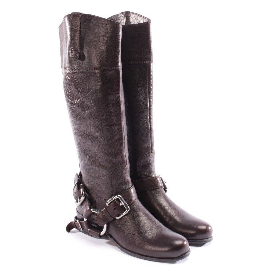 Miu Miu botas talla d 37,5 marrón zapatos señora botas de cuero Shoes Leather Biker
