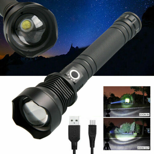Zoomable XHP70 LED USB Flashlight Hunting Torch Poweful Spotligtht Lamp 200000LM