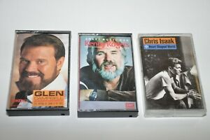Chris Isaak Kenny Rogers Glen Campbell Cassette Tape Lot of 3 Country?