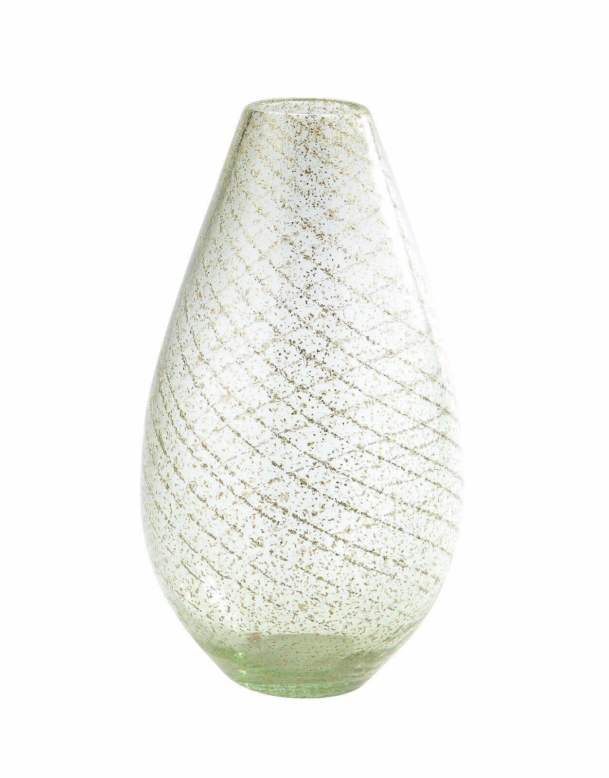 Nuevo 13  mano florero de vidrio soplado arte en forma de lágrima verde claro decorativo