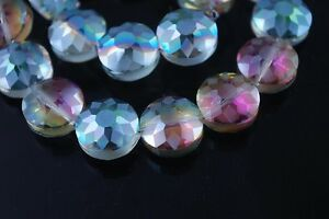 5pcs-14mm-Round-Discoid-Faceted-Crystal-Glass-Dull-Polish-Loose-Beads-Rose-Green