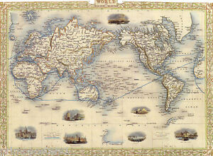 S MAP WORLD MERCATORS PROJECTION USA REPRO POSTER EBay - 1800s world map