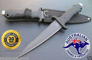 PIG-STICKER-HUNTING-KNIFE-BOWIE-COMBAT-CAMPING-MILITARY-BLACK-BLACK-SR-AU-STOCK