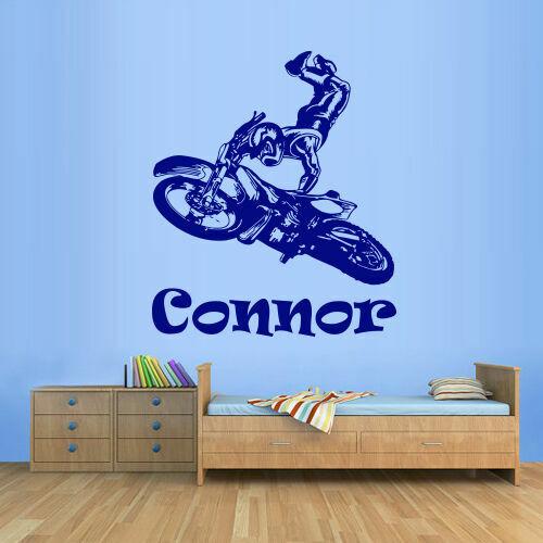 Wall Decal Kids Motocross Tribal Dirt Moto Custom Baby Name Jump Bike M1285