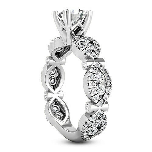 Solitaire 2.62 Carat VS2/D Round Cut Diamond Engagement Ring 14k White Gold