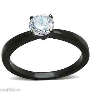 Ladies-0-85ct-Clear-Stone-Black-Plated-Engagement-Ring